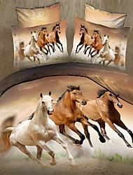 Solid Duvet Cover Sets 4 Piece Cotton Faux Silk solid Reactive Print Cotton Faux Silk Queen 1pc Duvet Cover 2pcs Shams 1pc Flat Sheet
