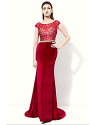 Formal Evening Dress Trumpet / Mermaid Scoop Floor-length Velvet with Lace Sash / Ribbon