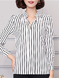 Fashion Spring Long Sleeves Stripe Stand Up Upper Outer Garment Daily Leisure Wild Home Play Chiffon Blouse