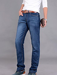 Men's Straight Jeans Pants,Casual/Daily Simple Solid Mid Rise Zipper Cotton Inelastic Spring