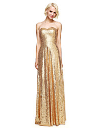 LAN TING BRIDE Floor-length Sweetheart Bridesmaid Dress - Sparkle & Shine Sleeveless Sequined