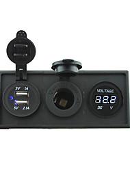12v / 24v puissance port usb charger3.1a et 12v jauge de voltmètre avec panneau de support de logement pour bateau de voiture camion rv