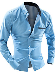 Men's Casual/Daily Work Simple Spring Fall Shirt,Solid Button Down Collar Long Sleeves Cotton