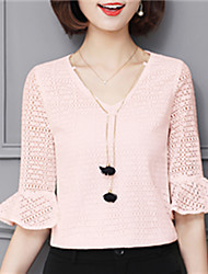 Fashion Spring Trumpet Sleeves V Collar Upper Outer Garment Daily Leisure Solid Color Wild Home OL Play Chiffon Blouse