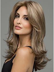 Mujer Pelucas sintéticas Sin Tapa Medio Liso Marrón Raya en medio Peluca natural Las pelucas del traje