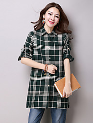 Sign spring new Women Korean yards cotton long-sleeved plaid shirt and long sections coat