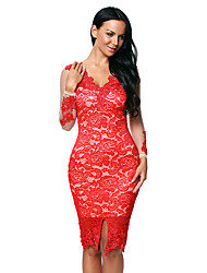 Women's Red Lace Applique Nude Illusion Long Sleeve Dress