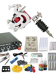 Starter Tattoo-Kits 1 x Stahl-Tattoomaschine für Umrißlinien und Schattierung Mini Stromversorgung 10 x Tattoonadeln RL 3 Komplett-Set