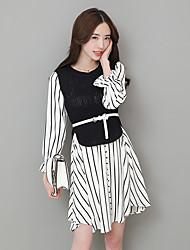 unterzeichnen gestrickten Pullover 2017 Frühling neues zweiteiliges Kleid gestreiften Chiffonhemd
