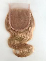 цвета # 27 блондинка меда волна тела человеческих волос закрытие 4x4 отбеленные узлы человеческих волос