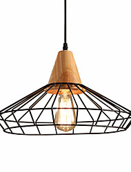 Max 60W Retro Industrial Style Wood With Wrought Iron Birdcage Pendant Lights Dining Room Cafe Game Room light Fixture