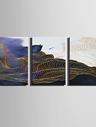 E-HOME Stretched Canvas Art Abstract Golden Liness Decoration Painting Set Of 3