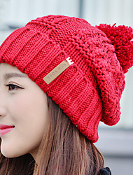 Women Autumn Winter Letter Cloth Plus Cashmere Stretch Knitted Wool Solid Color Plus Velvet Warm Hat