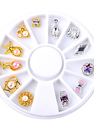 12pcs/Box Gold Silver Bow Flowers Design Alloy Nail Decoration Wheel 3D Charm Nail Jewelry Accessories