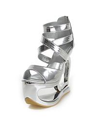 Damen-Sandalen-Büro Kleid Party & Festivität-PU-Keilabsatz-Gladiator-Silber Dunkel Grau