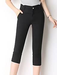 Women's Plus Size Skinny Chinos Pants,Casual/Daily Work Simple Cute Solid High Rise Zipper Button Cotton Nylon Micro-elastic Summer