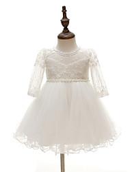 Vestido Bebé-Fiesta/Cóctel-Floral-Poliéster-Todas las Temporadas-Blanco