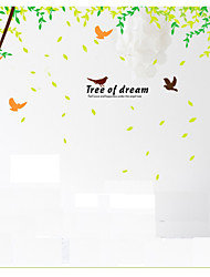 2PCS/ Lot Tree of Dream Wall Stickers Large Tree Flying Bids Wall Decals Quote Removable Wall Sticker for Family 60*90*2cm