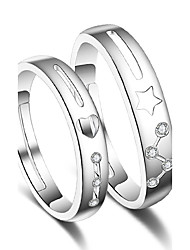 Ring Wedding Party Special Occasion Jewelry Platinum Plated Star Couple Rings 1 pairAdjustable Silver