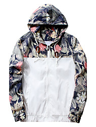 Men's Casual/Daily Simple Street chic Active Jacket,Camouflage Floral Solid Hooded Long Sleeve Spring Wash separately Polyester Regular