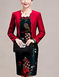 Moulante Robe Femme Sortie Grandes Tailles simple,Jacquard Col Arrondi Au dessus du genou Manches Longues Rouge PolyesterPrintemps