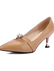 Heels Spring Summer Fall Winter Club Shoes Cowhide Office & Career Dress Casual Stiletto Heel Rhinestone Black Khaki