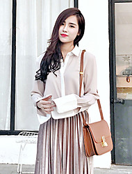 Spring Korean version of the simple and stylish knitted suit female Slim spell color chiffon shirt blouse + vest dress two-piece
