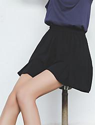 spot real shot Modell 2017 wilde dünne elastische Taillenkurzschlüsse Normallack Leinen gefaltete Shorts dunkel