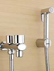 Bidet Faucets  ,  Traditional Modern  with  Chrome Two Handles One Hole  ,  Feature  for Wall Mount Pull out