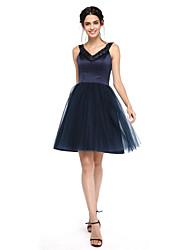 LAN TING BRIDE Knee-length V-neck Bridesmaid Dress - Open Back Sleeveless Satin Tulle