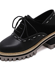 Women's Oxfords Spring Ankle Strap PU Casual Low Heel Lace-up Black Gray