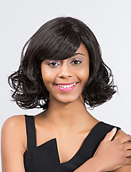 elegante e confortável prevalecente peruca sintética do cabelo preto encaracolado