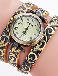 Vintage Men's Watch Genuine Leather Charm Bracelet Watch  Flower pattern Ladies Watch Quartz Wrist watch