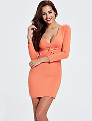 Going out Party/Cocktail Club Sexy Bodycon Sheath Dress,Solid Cut Out V Neck Above Knee Long Sleeve Others Black Orange All SeasonsHigh