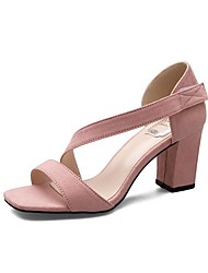 Women's Sandals Spring Summer Fall Club Shoes Comfort PU Suede Office & Career Party & Evening Dress Chunky Heel Magic TapeBlack Pink