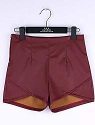 sexy shorts de couro calças motocicleta calças de couro com zíper coreano onda retro da cintura magro apertado