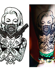 1 pcs  New Design Cool tattoo girl with guns 19x12cm Waterproof Temporary Tattoo Stickers
