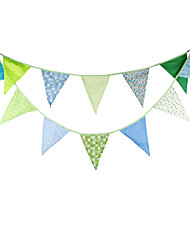 3.6m 12Flags Blue Green Banner Pennant Cotton Bunting Banner Booth Props Photobooth Birthday Wedding Party Decoration