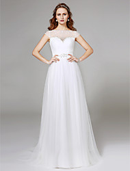 A-Line Illusion Neckline Sweep / Brush Train Tulle Wedding Dress with Beading Lace by LAN TING BRIDE®