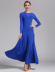 Imported Nylon Viscose with Draped Ballroom Dance Dresses for Women's Performance (More Colors)