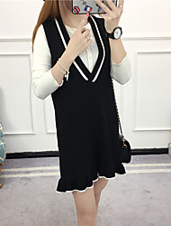 langen Abschnitt der weiblichen koreanischen Pullover Kleid Trägerkleid flouncing sleeveless Westekleid loses Kleid