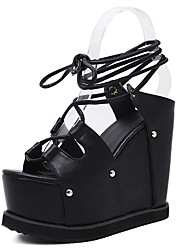 Sandals Summer Gladiator PU Casual Wedge Heel Lace-up Black