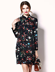Mujer Línea A Vestido Noche Sofisticado,Floral Escote Chino Sobre la rodilla Manga Larga Algodón Acrílico Poliéster Primavera VeranoTiro