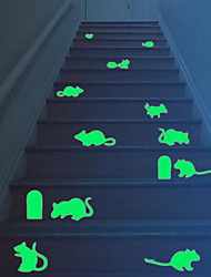 Cartoon Cute Mouses Luminous Wall Stickers Vinyl Material Home Decoration