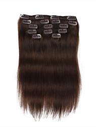 7 PC / set # 4 mittelbraun chocalate braun clip in Haarverlängerungen 14inch 100% Menschenhaar 18inch