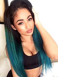 Mujer Pelucas de Cabello Natural Remy Encaje Frontal Frontal sin Pegamento 130% Densidad Liso Peluca Azul negro Corto Medio Largo Pelo