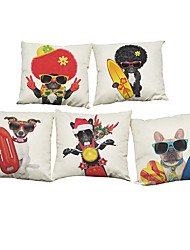 Set of 5 Cute Bad Dog Pillowcase  Linen Pillow Case Bedroom Euro Pillow Covers 18x18 inches  Cushion cover