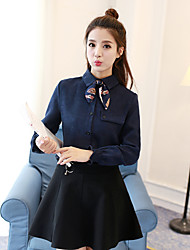 Sign 2016 autumn and winter new Korean fashion lace bow solid color corduroy shirt long-sleeved shirt bottoming