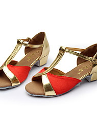 Kids' Dance Shoes Satin Latin Sandals Low Heel Indoor