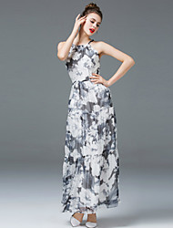 ZIYI Going out Cute A Line DressFloral Strap Midi Sleeveless Polyester Black Spring Summer Mid Rise Micro-elastic